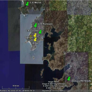 Mapa de situación dos Centros Emisores e das parroquias