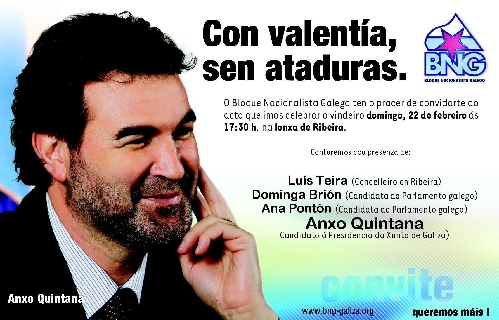 Convite mitin central do BNG na Lonxa de Ribeira