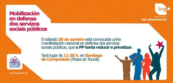 Mobilización en defensa dos servizos sociais públicos do 30 de xaneiro