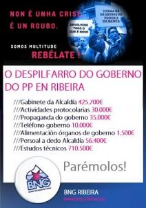 Cartaz malgasto cartos públicos. BNG Ribeira