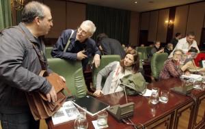 Concelleiros BNG Ribeira. Xosé Antonio Vázquez Cobas, Xosé Antón Parada Fernández, Dores Vidal Peón.