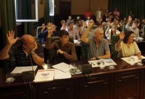 Concelleiros do grupo municipal do BNG. Pleno Municipal Ribeira.
