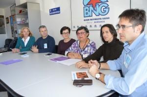 Adelina Ces, Severino Romero, Elvira Blanco, Cristina Andrade, Raquel Suárez e Carlos Ansoar. BNG Barbanza. Foto Chechu López
